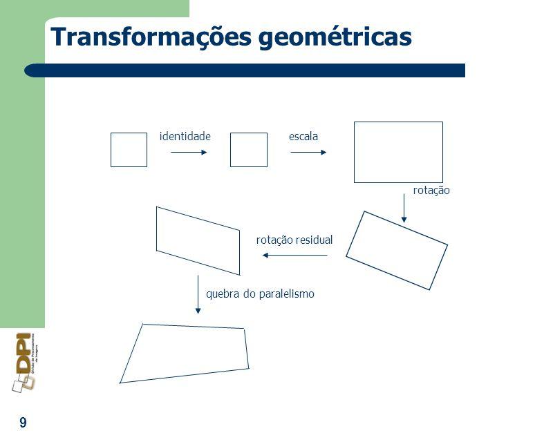 9 Transformações geométricas identidadeescala rotação rotação residual quebra do paralelismo