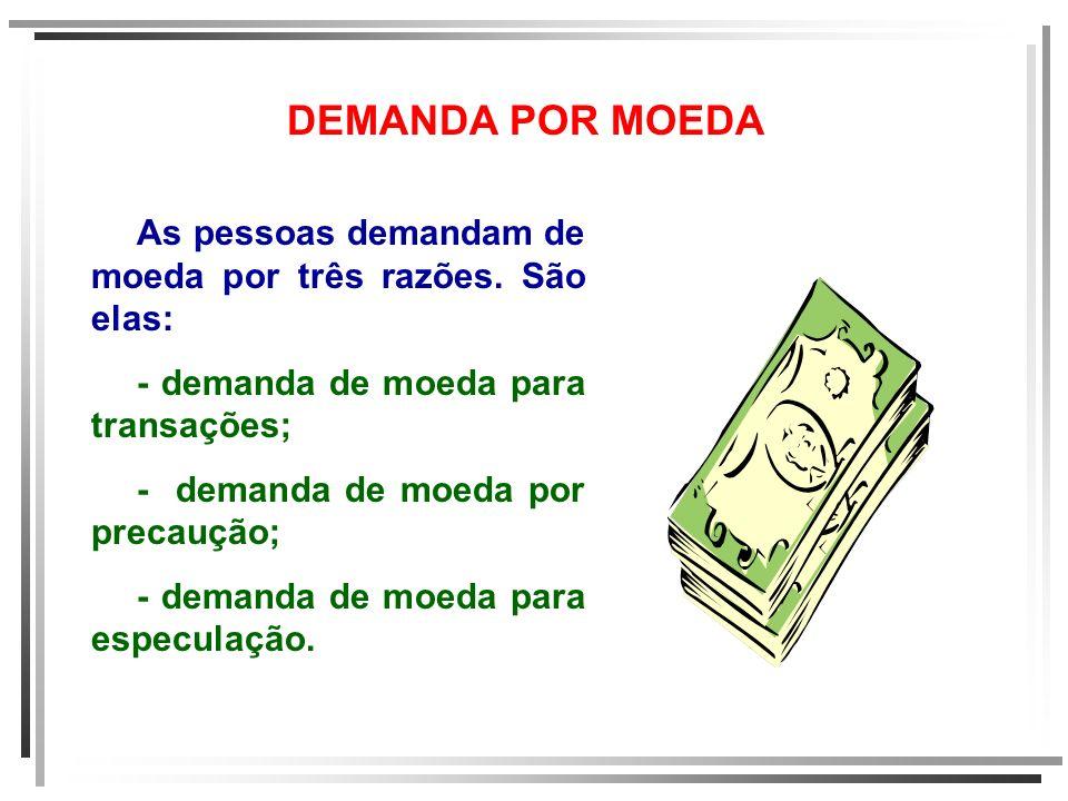 DEMANDA POR MOEDA As pessoas demandam de moeda por três razões. São elas: - demanda de moeda para transações; - demanda de moeda por precaução; - dema