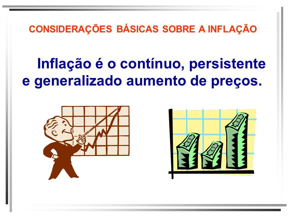 CONSIDERAÇÕES BÁSICAS SOBRE A INFLAÇÃO Inflação é o contínuo, persistente e generalizado aumento de preços.