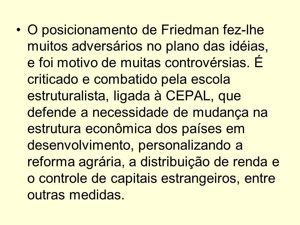 O posicionamento de Friedman fez-lhe muitos adversários no plano das idéias, e foi motivo de muitas controvérsias. É criticado e combatido pela escola