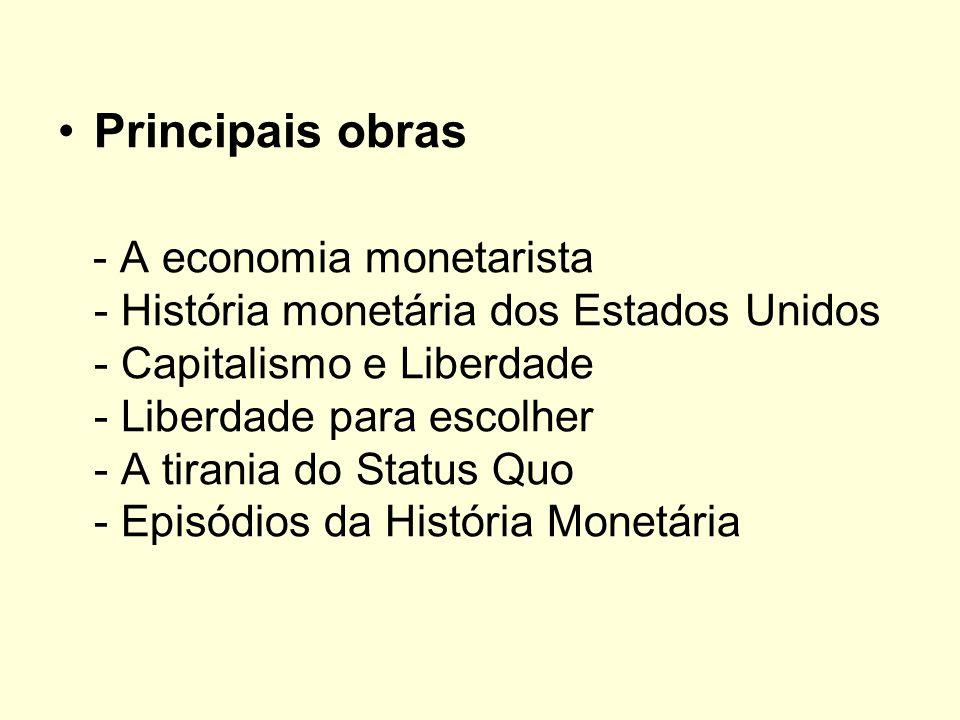 Principais obras - A economia monetarista - História monetária dos Estados Unidos - Capitalismo e Liberdade - Liberdade para escolher - A tirania do S