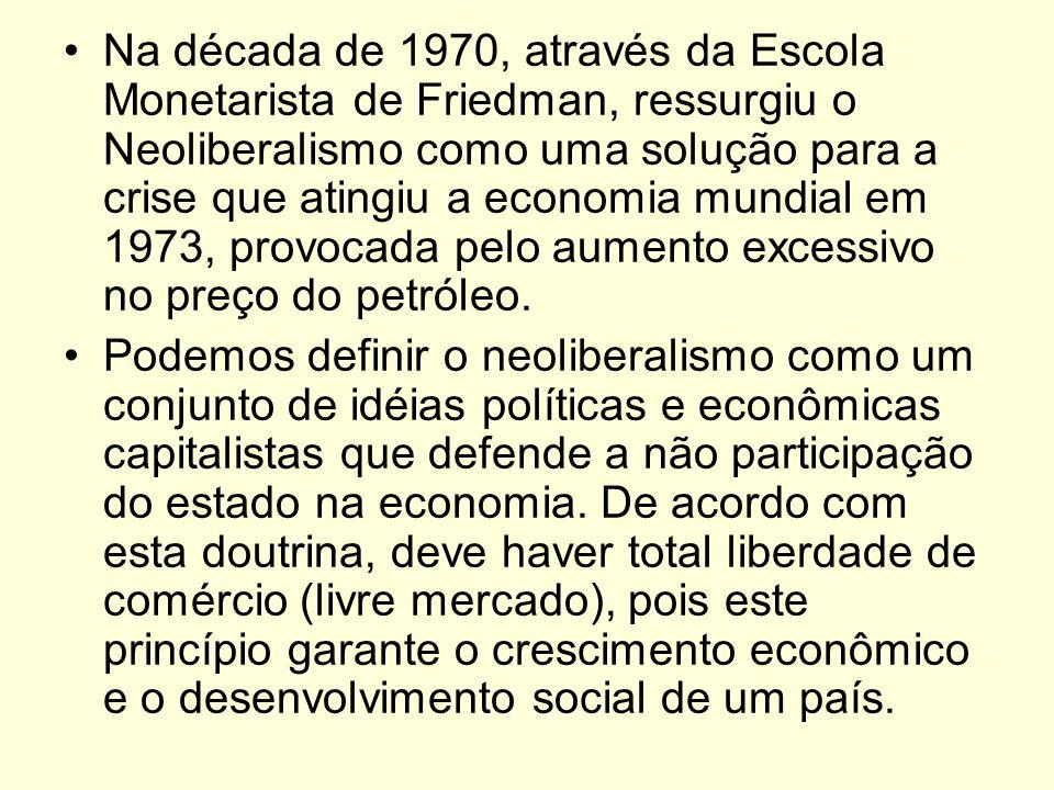 Na década de 1970, através da Escola Monetarista de Friedman, ressurgiu o Neoliberalismo como uma solução para a crise que atingiu a economia mundial
