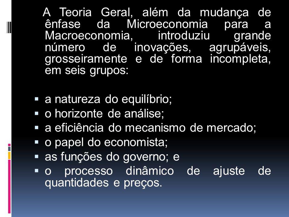A Teoria Geral, além da mudança de ênfase da Microeconomia para a Macroeconomia, introduziu grande número de inovações, agrupáveis, grosseiramente e d
