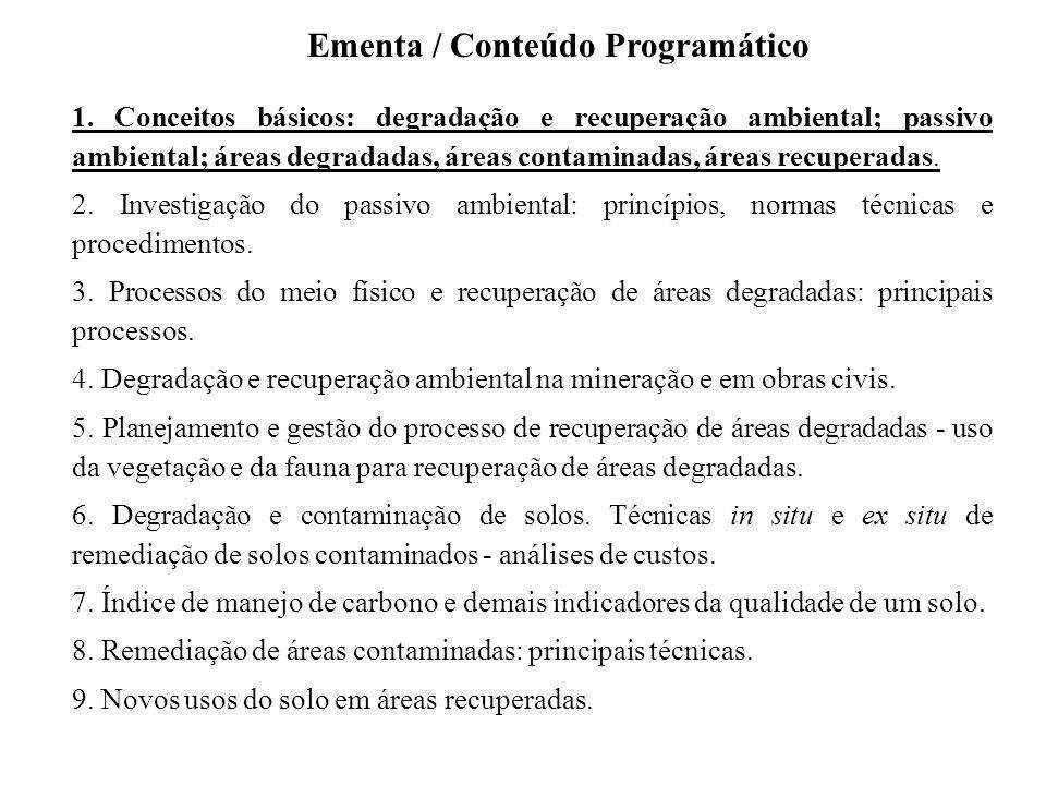 1. Conceitos básicos: degradação e recuperação ambiental; passivo ambiental; áreas degradadas, áreas contaminadas, áreas recuperadas. 2. Investigação