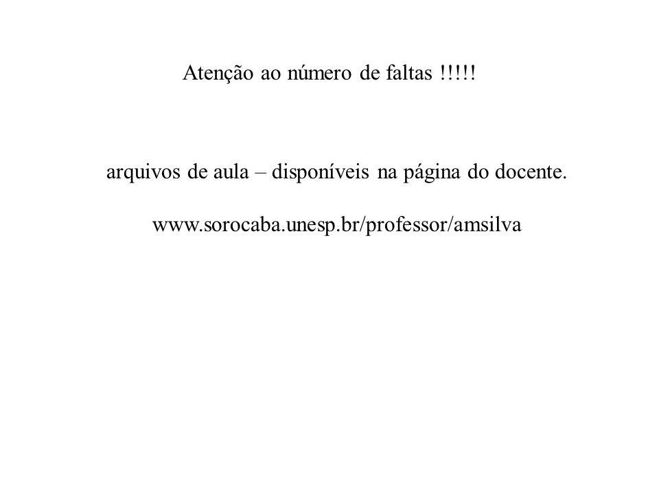 Atenção ao número de faltas !!!!! arquivos de aula – disponíveis na página do docente. www.sorocaba.unesp.br/professor/amsilva