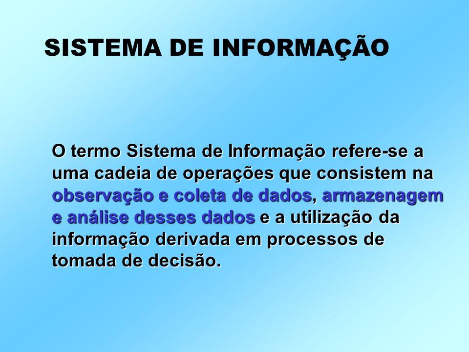 O termo Sistema de Informação refere-se a uma cadeia de operações que consistem na observação e coleta de dados, armazenagem e análise desses dados e a utilização da informação derivada em processos de tomada de decisão.