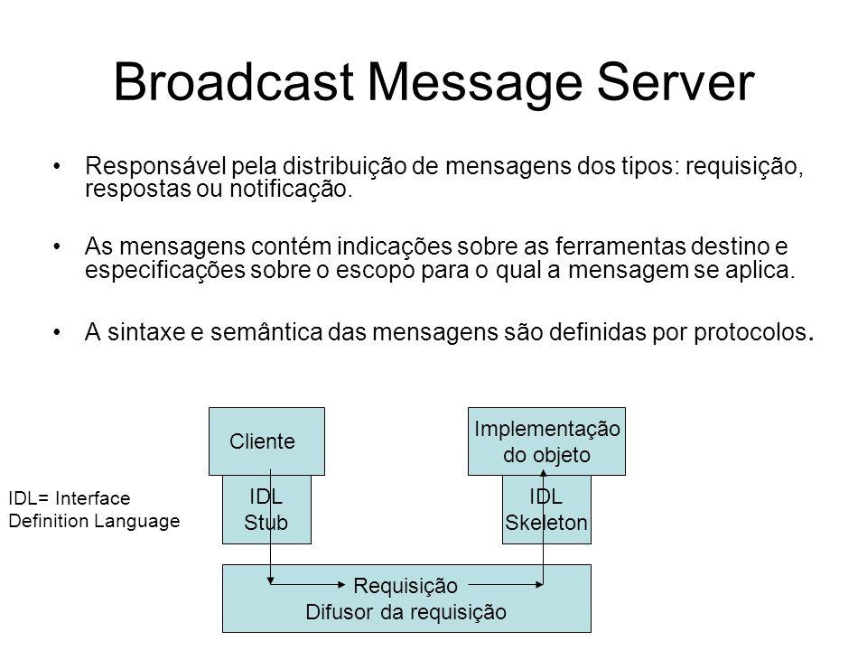 Broadcast Message Server Responsável pela distribuição de mensagens dos tipos: requisição, respostas ou notificação. As mensagens contém indicações so