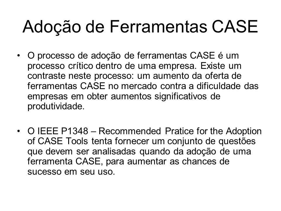 Adoção de Ferramentas CASE O processo de adoção de ferramentas CASE é um processo crítico dentro de uma empresa. Existe um contraste neste processo: u