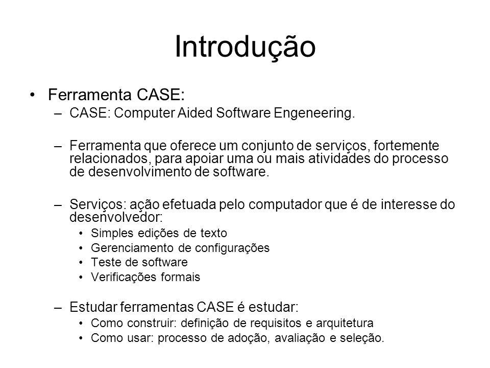 Conceitos básicos As ferramentas CASE podem ser: –Horizontais: oferecem serviços utilizados durante todo o processo de software –Verticais: utilizadas em fases específicas do processo de software Também podem ser classificadas de acordo com os serviços que oferecem, dentre as quais, cita-se.