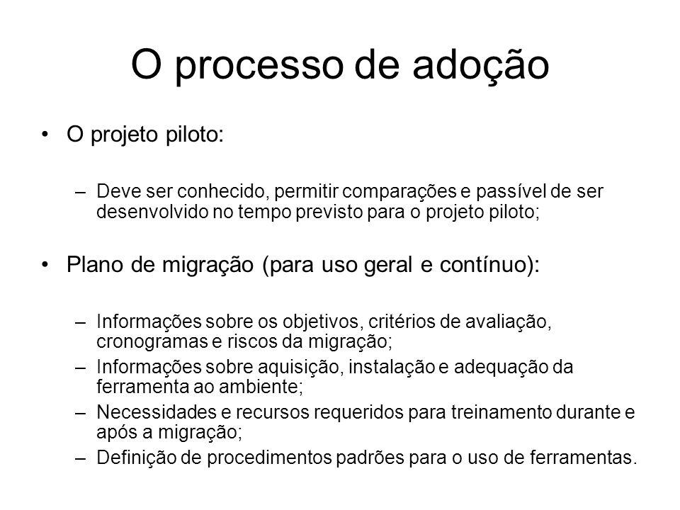 O processo de adoção O projeto piloto: –Deve ser conhecido, permitir comparações e passível de ser desenvolvido no tempo previsto para o projeto pilot