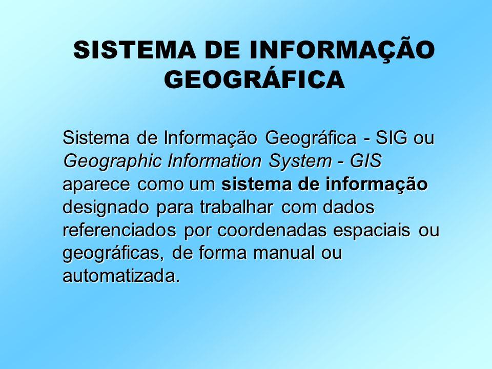 Sistema de Informação Geográfica - SIG ou Geographic Information System - GIS aparece como um sistema de informação designado para trabalhar com dados