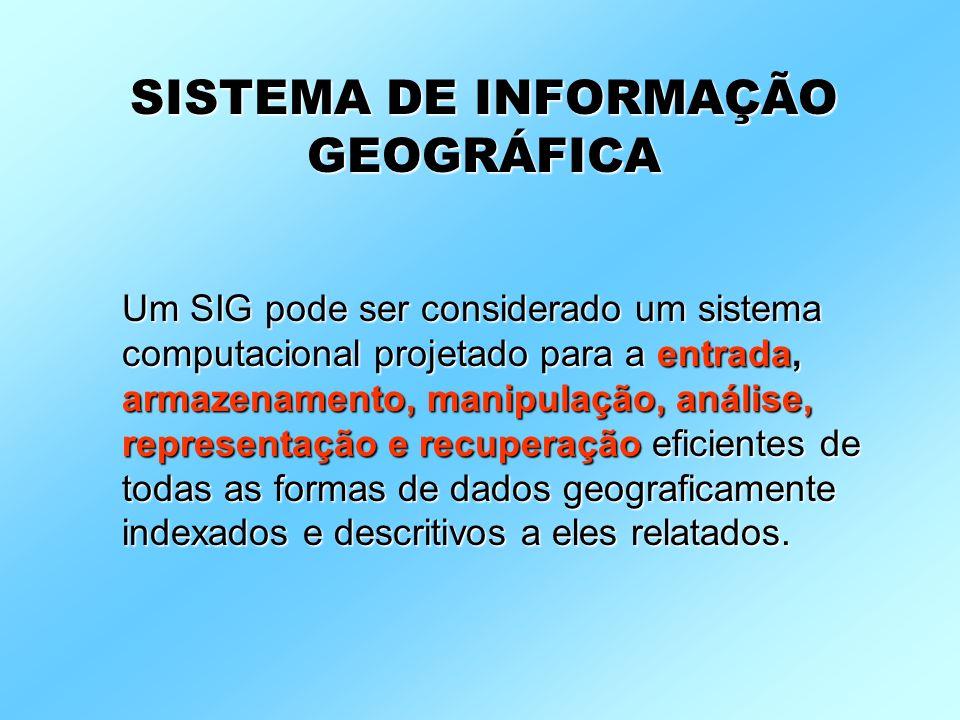 Um SIG pode ser considerado um sistema computacional projetado para a entrada, armazenamento, manipulação, análise, representação e recuperação eficie