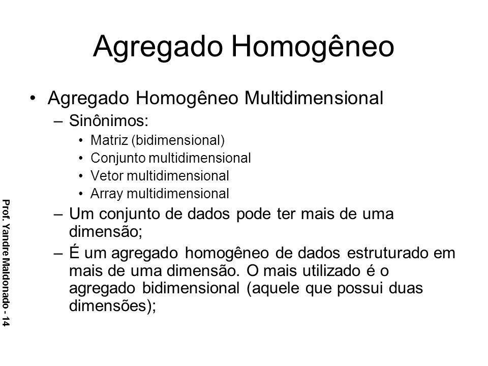 Agregado Homogêneo Agregado Homogêneo Multidimensional –Sinônimos: Matriz (bidimensional) Conjunto multidimensional Vetor multidimensional Array multi