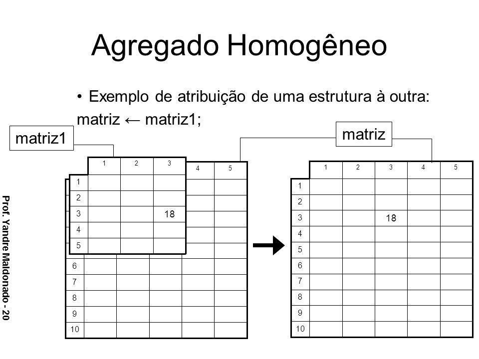 Agregado Homogêneo Exemplo de atribuição de uma estrutura à outra: matriz matriz1; matriz matriz1 Prof. Yandre Maldonado - 20