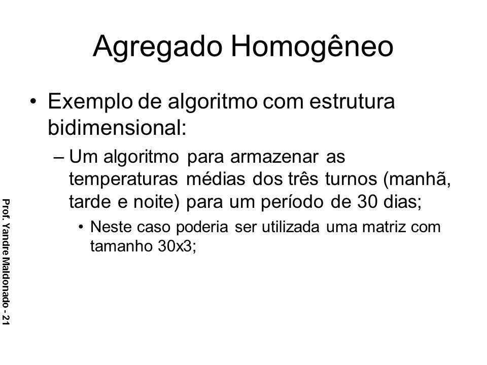 Agregado Homogêneo Exemplo de algoritmo com estrutura bidimensional: –Um algoritmo para armazenar as temperaturas médias dos três turnos (manhã, tarde