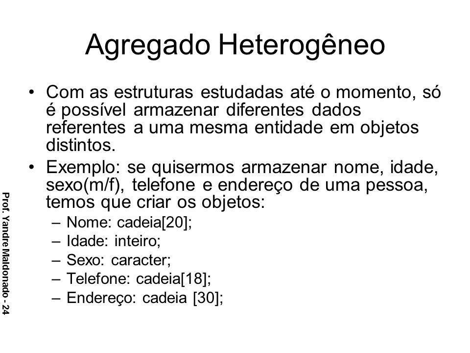 Agregado Heterogêneo Com as estruturas estudadas até o momento, só é possível armazenar diferentes dados referentes a uma mesma entidade em objetos di