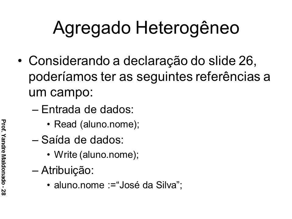 Agregado Heterogêneo Considerando a declaração do slide 26, poderíamos ter as seguintes referências a um campo: –Entrada de dados: Read (aluno.nome);