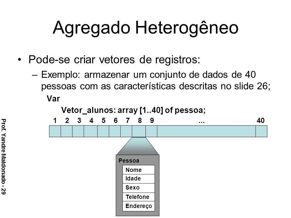 Agregado Heterogêneo Pode-se criar vetores de registros: –Exemplo: armazenar um conjunto de dados de 40 pessoas com as características descritas no sl