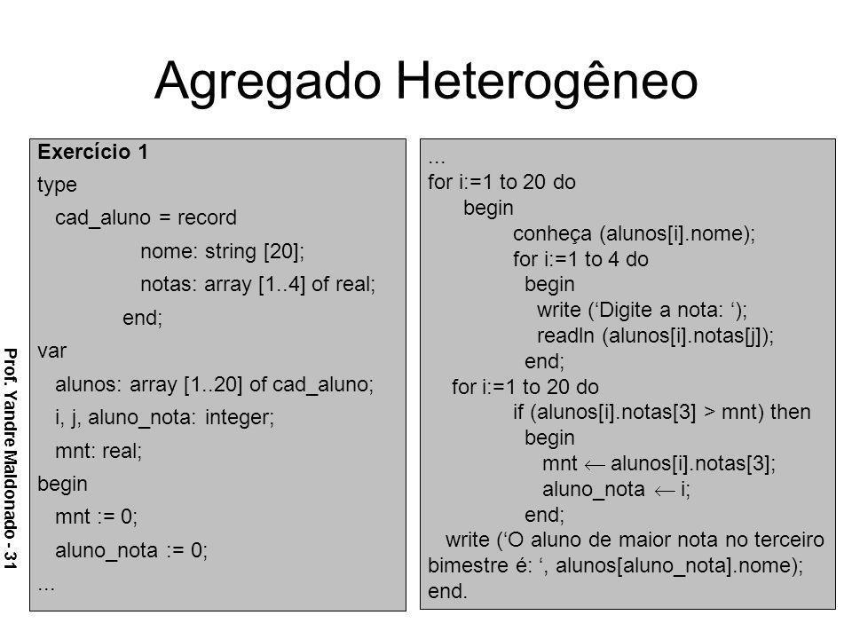 Agregado Heterogêneo Exercício 1 type cad_aluno = record nome: string [20]; notas: array [1..4] of real; end; var alunos: array [1..20] of cad_aluno;