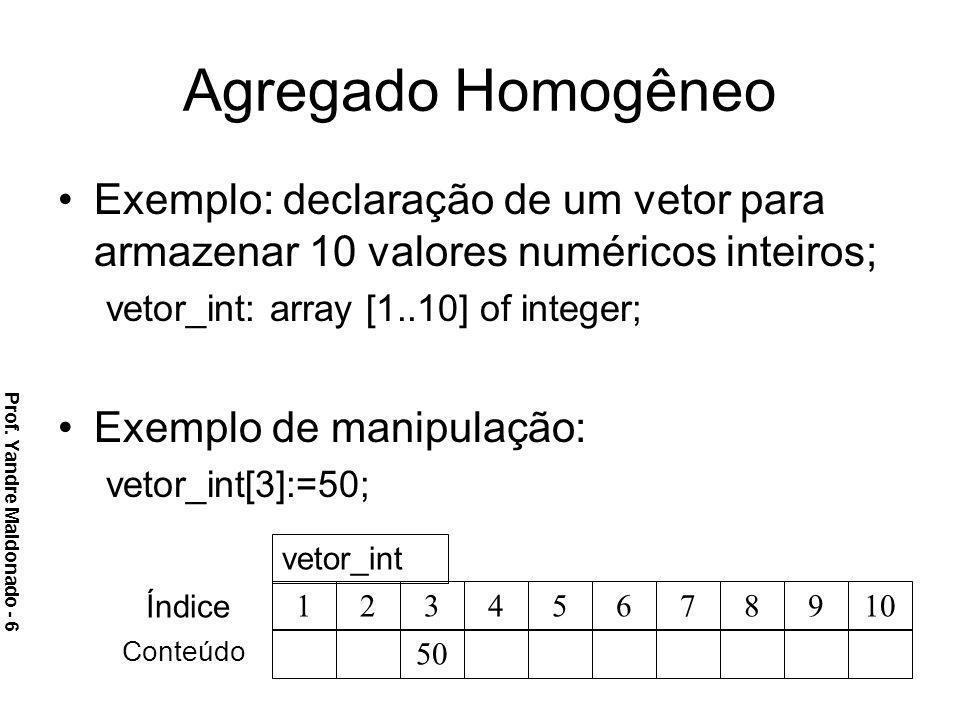 Agregado Homogêneo Exemplo: declaração de um vetor para armazenar 10 valores numéricos inteiros; vetor_int: array [1..10] of integer; Exemplo de manip