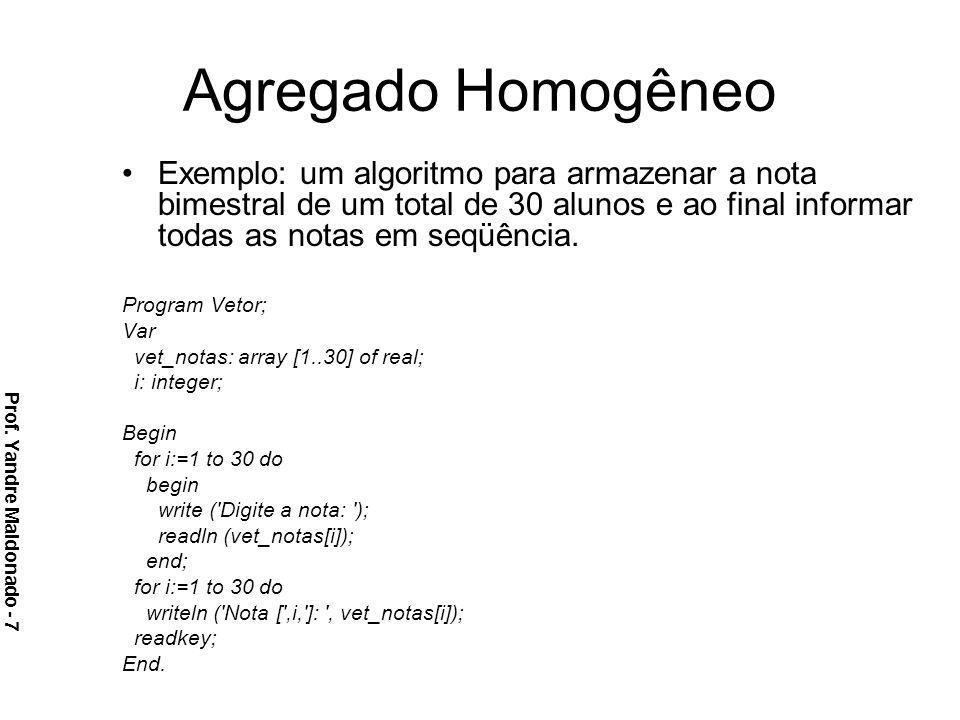 Agregado Homogêneo Exemplo: um algoritmo para armazenar a nota bimestral de um total de 30 alunos e ao final informar todas as notas em seqüência. Pro