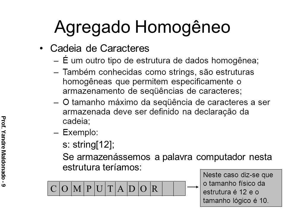 Cadeia de Caracteres –É um outro tipo de estrutura de dados homogênea; –Também conhecidas como strings, são estruturas homogêneas que permitem especif