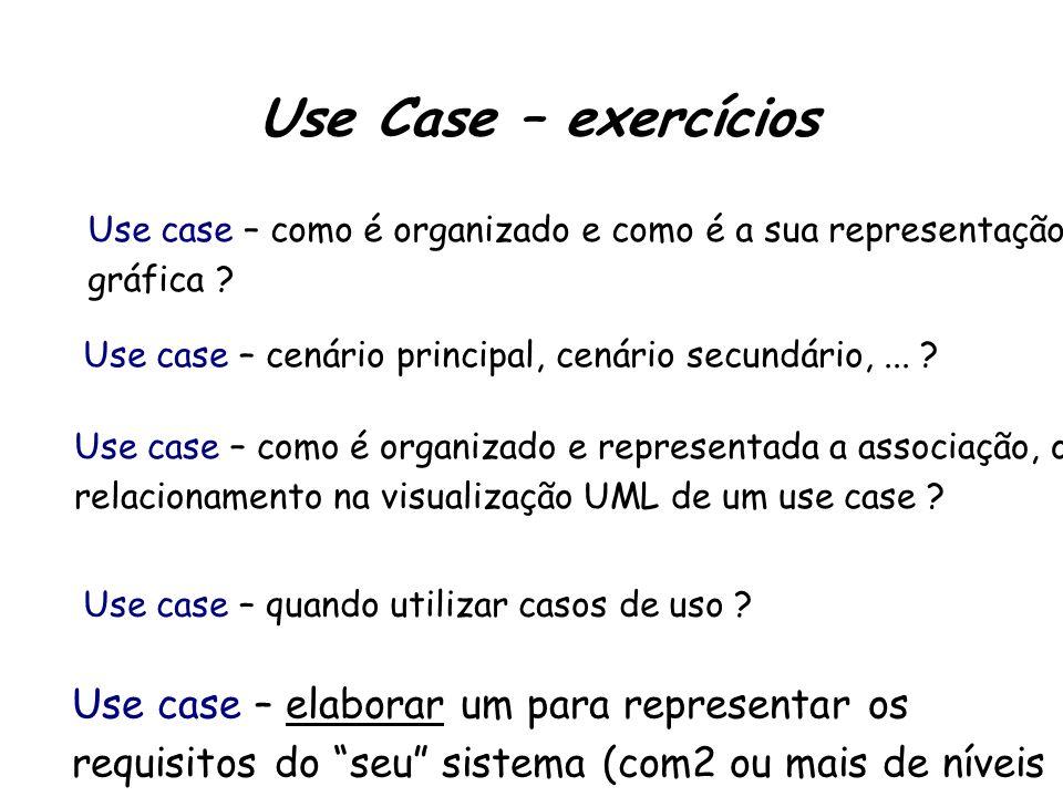 Use Case – exercícios Use case – como é organizado e como é a sua representação gráfica .