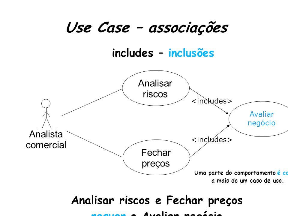Use Case – associações Uma parte do comportamento é comum a mais de um caso de uso.