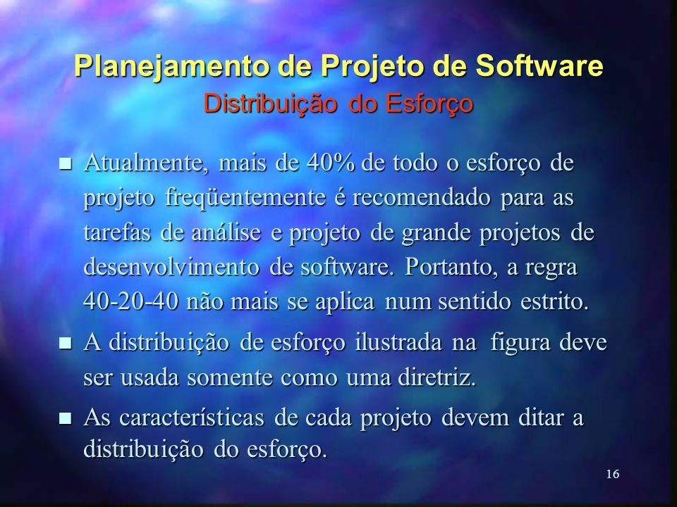 16 Planejamento de Projeto de Software Distribuição do Esforço n Atualmente, mais de 40% de todo o esforço de projeto freqüentemente é recomendado par