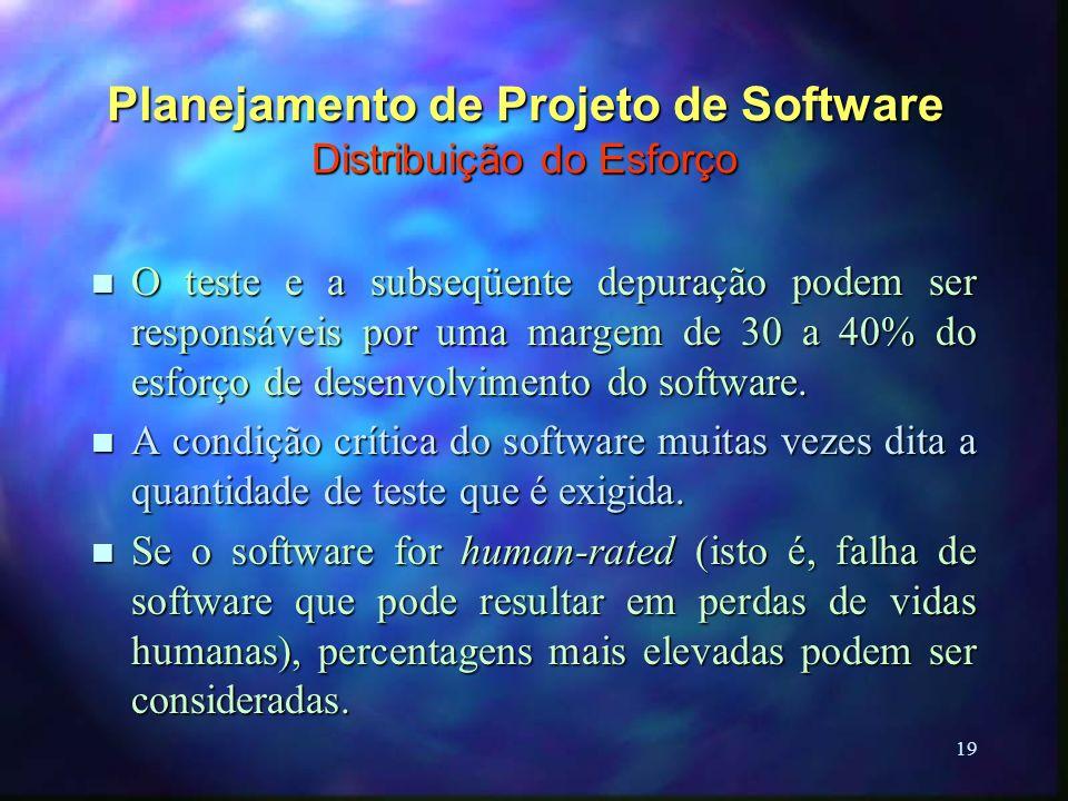 19 Planejamento de Projeto de Software Distribuição do Esforço n O teste e a subseqüente depuração podem ser responsáveis por uma margem de 30 a 40% d