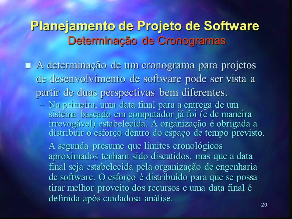 20 Planejamento de Projeto de Software Determinação de Cronogramas n A determinação de um cronograma para projetos de desenvolvimento de software pode