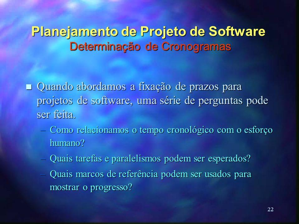 22 Planejamento de Projeto de Software Determinação de Cronogramas n Quando abordamos a fixação de prazos para projetos de software, uma série de perg