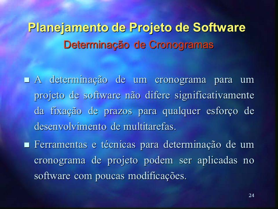 24 Planejamento de Projeto de Software Determinação de Cronogramas n A determinação de um cronograma para um projeto de software não difere significat