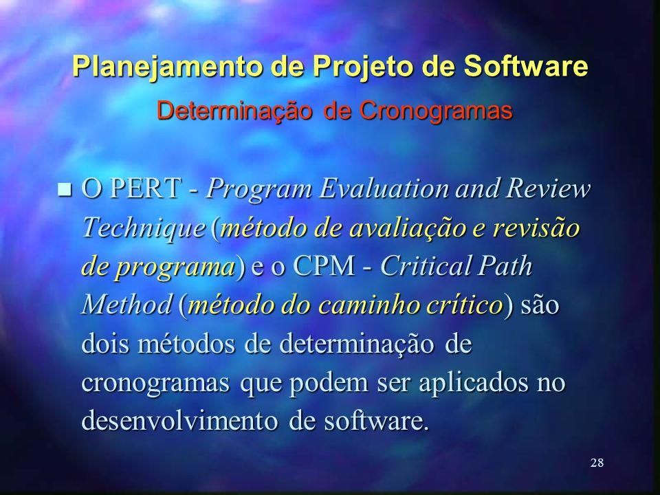 28 Planejamento de Projeto de Software Determinação de Cronogramas n O PERT - Program Evaluation and Review Technique (método de avaliação e revisão d