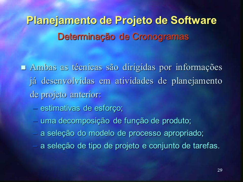 29 Planejamento de Projeto de Software Determinação de Cronogramas n Ambas as técnicas são dirigidas por informações já desenvolvidas em atividades de