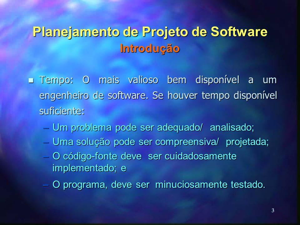 3 Planejamento de Projeto de Software Introdução n Tempo: O mais valioso bem disponível a um engenheiro de software. Se houver tempo disponível sufici
