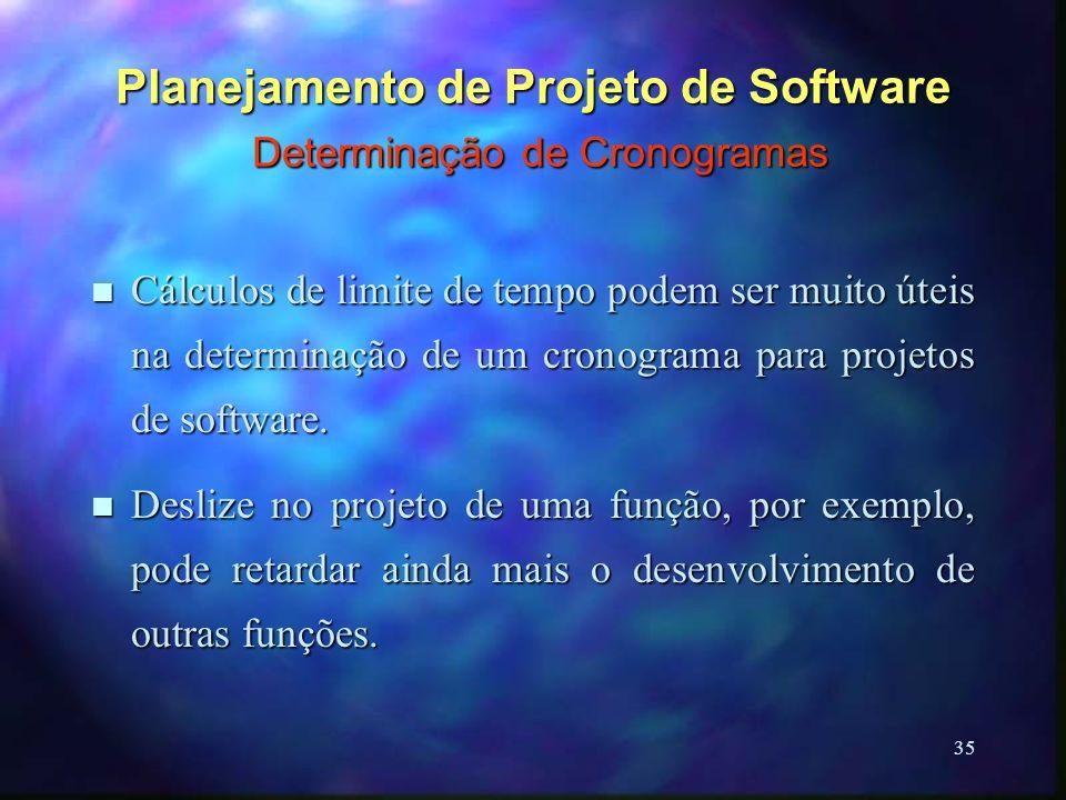 35 Planejamento de Projeto de Software Determinação de Cronogramas n Cálculos de limite de tempo podem ser muito úteis na determinação de um cronogram