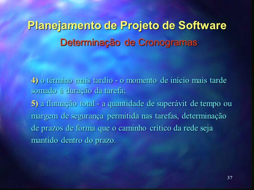 37 Planejamento de Projeto de Software Determinação de Cronogramas 4) o término mais tardio - o momento de início mais tarde somado à duração da taref