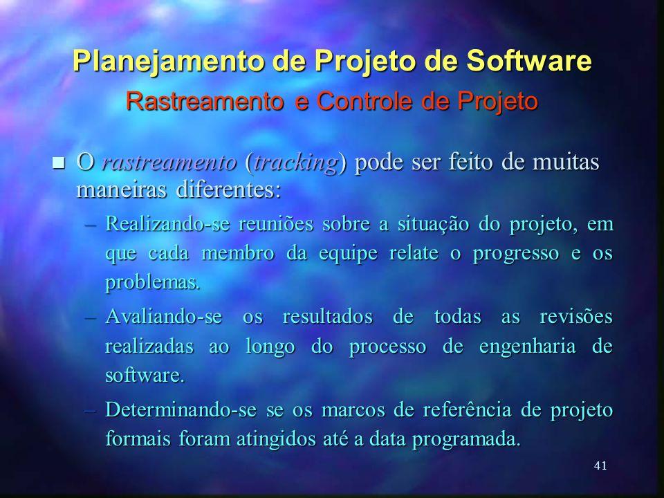 41 Planejamento de Projeto de Software Rastreamento e Controle de Projeto n O rastreamento (tracking) pode ser feito de muitas maneiras diferentes: –R