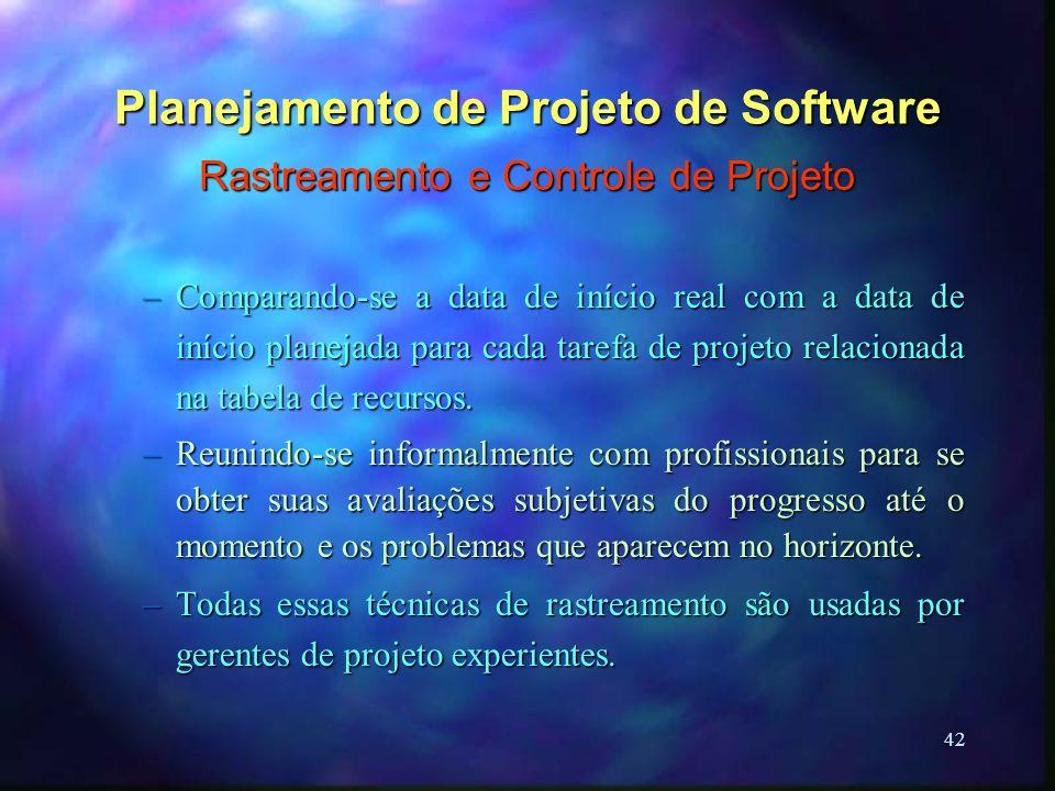 42 Planejamento de Projeto de Software Rastreamento e Controle de Projeto –Comparando-se a data de início real com a data de início planejada para cad