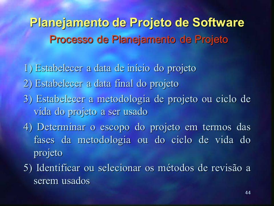 44 Planejamento de Projeto de Software Processo de Planejamento de Projeto 1) Estabelecer a data de início do projeto 2) Estabelecer a data final do p