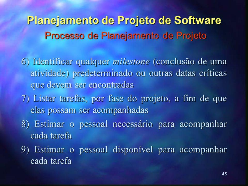 45 Planejamento de Projeto de Software Processo de Planejamento de Projeto 6) Identificar qualquer milestone (conclusão de uma atividade) predetermina