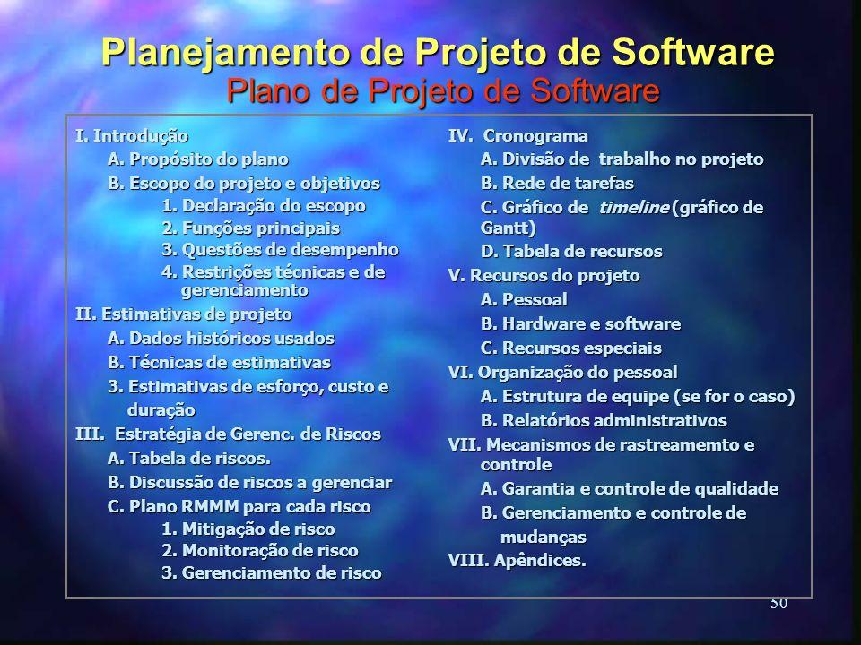 50 I. Introdução A. Propósito do plano B. Escopo do projeto e objetivos 1. Declaração do escopo 2. Funções principais 3. Questões de desempenho 4. Res