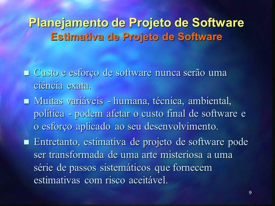 9 Planejamento de Projeto de Software Estimativa de Projeto de Software n Custo e esforço de software nunca serão uma ciência exata. n Muitas variávei