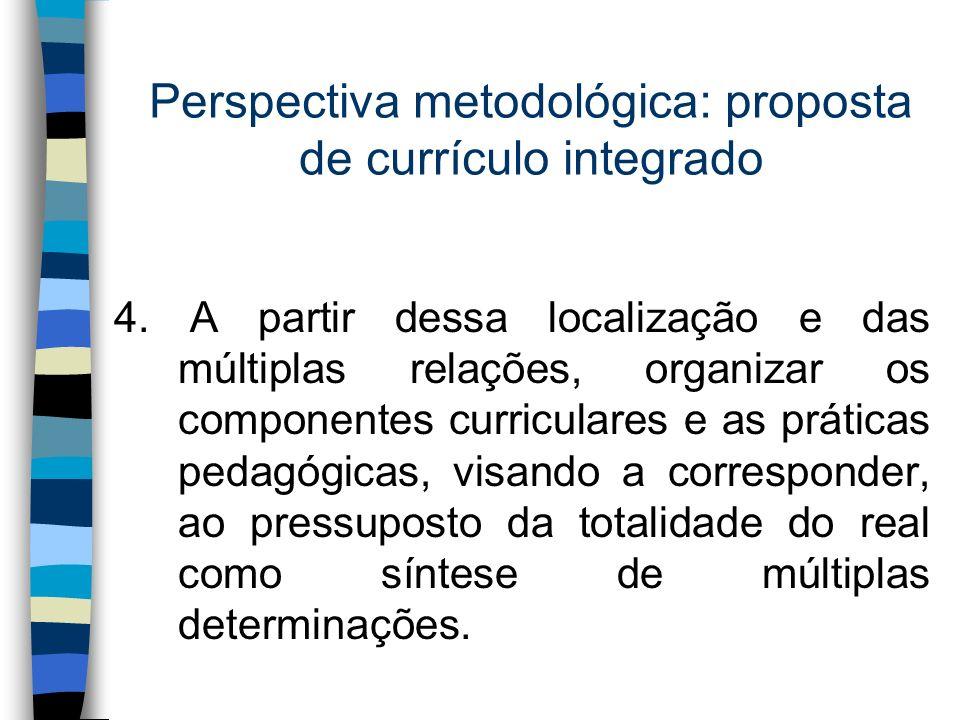 Perspectiva metodológica: proposta de currículo integrado 4. A partir dessa localização e das múltiplas relações, organizar os componentes curriculare