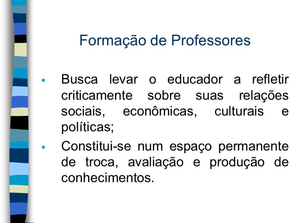 Formação de Professores Busca levar o educador a refletir criticamente sobre suas relações sociais, econômicas, culturais e políticas; Constitui-se nu