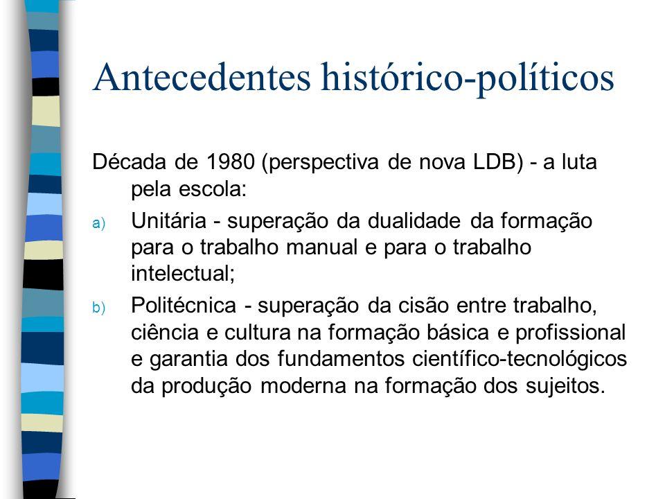Antecedentes histórico-políticos Década de 1980 (perspectiva de nova LDB) - a luta pela escola: a) Unitária - superação da dualidade da formação para