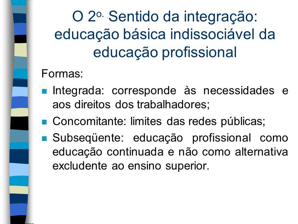 O 2 o. Sentido da integração: educação básica indissociável da educação profissional Formas: n Integrada: corresponde às necessidades e aos direitos d