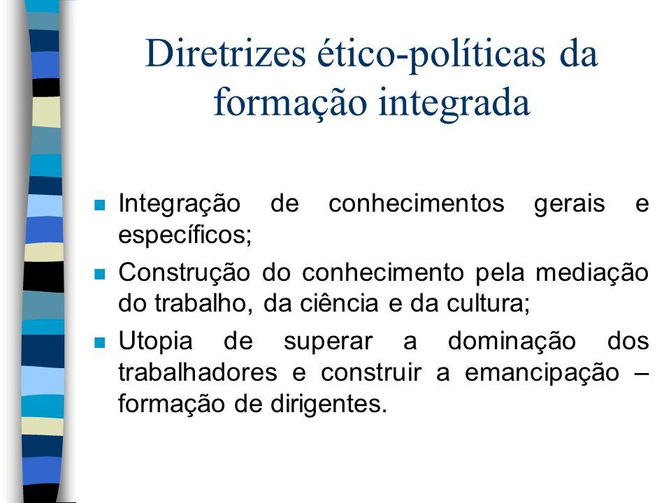Diretrizes ético-políticas da formação integrada n Integração de conhecimentos gerais e específicos; n Construção do conhecimento pela mediação do tra