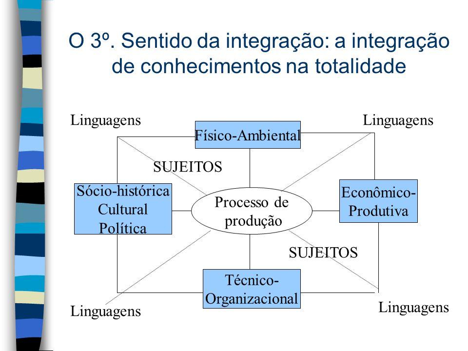O 3º. Sentido da integração: a integração de conhecimentos na totalidade Processo de produção Físico-Ambiental Econômico- Produtiva Técnico- Organizac